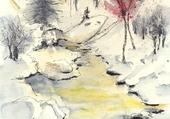 Puzzle ruisseau en hiver