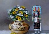 fleurs et peinture indienne
