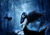 gothic angel in the forest
