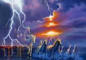 chevaux sous l'orage