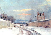 Entrée village sous la neige