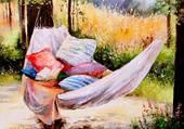 sieste à l'ombre des arbres