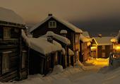 Maisons Bois sous la neige de Norvège