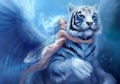 fée et tigre blanc