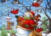 le bonhomme de neige et  les oiseaux