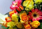 Un bouquet de fleurs jaunes et oranges