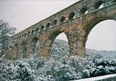 Le Pont du Gard sous la neige