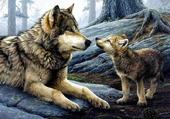 une louve et un louveteau.