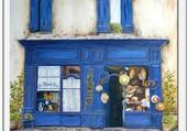 La Maison bleue - peinture à l'huile