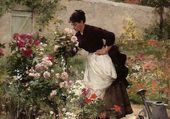 Jeune femme dans le jardin