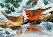 Puzzle deux oiseaux en hiver