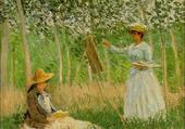 Blanche Monet peignant, par Claude Monet