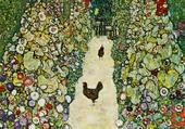 Puzzle Allée de jardin avec les poules