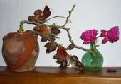 Roses trémières et carrelet