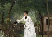 Madame Gilbert dans son jardin