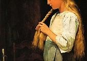 Jeune-fille tressant ses cheveux