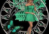 belle reveuse tout en vert