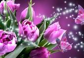 Papillons et tulipes