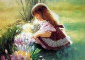petite fille aux fleurs