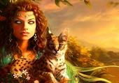 Belle femme et son lynx