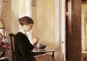 Joséphine tricotant
