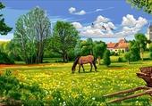 Puzzle canevas de paysage de campagne