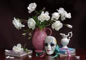 Masque et bouquet