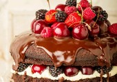 Gâteau au chocolat et fruits rouges