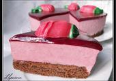 Bavarois framboise sur biscuit chocolat