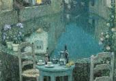 Petite table et soirée au crépuscule