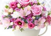bouquet de fleurs rose