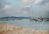 Champs de blé avec des bateaux
