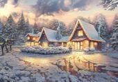 Soir d'hiver sous la neige