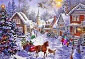 Puzzle village hivernal très coloré