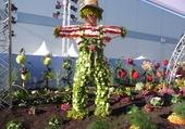 personnage en fleurs et légumes