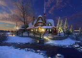 La nuit sur paysage enneigé