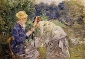 Femmes cueillant des fleurs