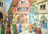 Scène de rue médiévale