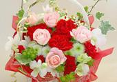 Panier romantique de roses