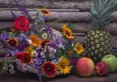 Tableau fleurs et fruits