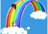 arc en ciel et chatons