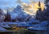 sapins gelés au pied de la montagne
