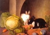 Festin des 2 lapins de J.G Seitz 1870