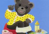 Petit ours brun sur le pot