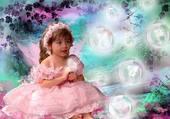 une belle robe rose et des bulles