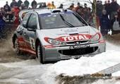 Passage limite d'une 206 WRC
