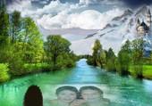 les visages dans l'eau