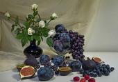 Tableau de fruits et de fleurs