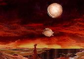 Saturne-Vue artistique de Titan