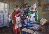 Puzzle Les devoirs chez grand mère